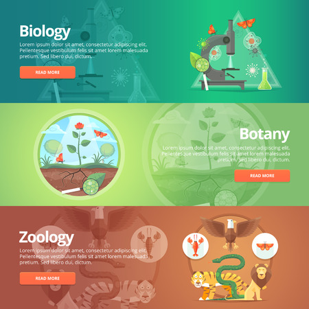 Science of biology. Natural science. Vegetable life. Botany knowledge. Animal planet. Zoology. Zoo. World of wildlife. Education and science banners set. Vector design concept. Vettoriali