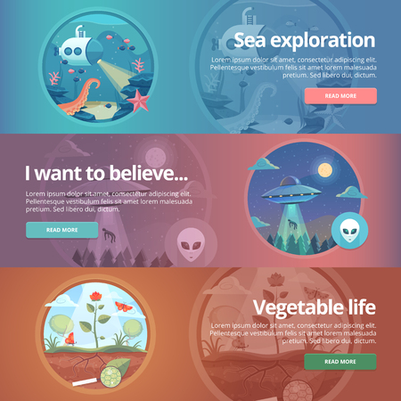 ufology: Sea exploration. Science of life. Natural science. Ufology. Flying saucer. Alien abduction. Vegetable life. Botany study. Science of plants. Education and science banners set. Vector design concept.