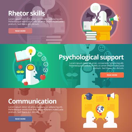 orator: Orator skills. Psychological support. Art of speaking. People communication. Social relations and people communication banners set. Vector design concept.
