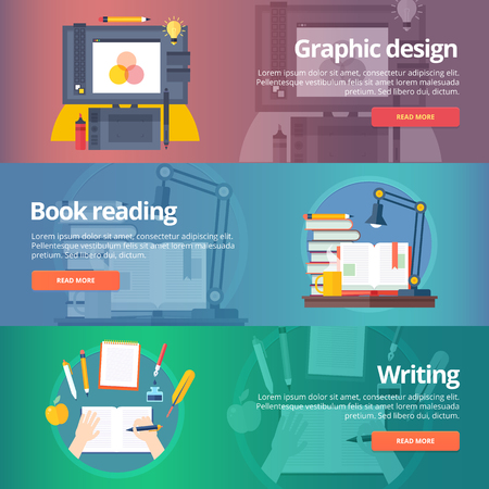 Graphic design. Digital painting. Book reading. Hand writing. Calligraphy skill. Library. Education banners set. Vector design concept. Ilustração