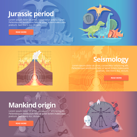origin: Jurassic period. Dinosaur age. Seismography science. Volcano erruption. Mankind origin. Anthropology. Science of life. Earthquake studying. Education and science banners set. Vector design concept.