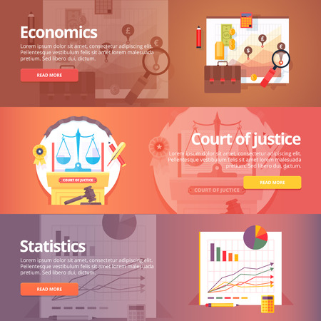 exact: Social science of economics. Political economy. Court of Justice. Study of statistics. Exact sciences. Civil law. Liberal art. Education and science banners set. Vector design concept.