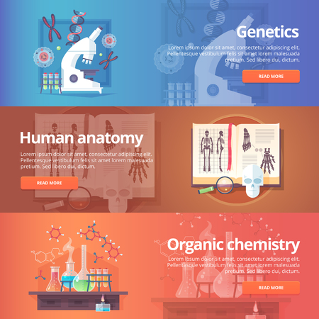 organic chemistry: Genetics. Human genome. Human anatomy. Anatomical atlas. Organic chemistry. Biochemistry. Chemical laboratory. Science of life. Education and science banners set. Vector design concept. Illustration