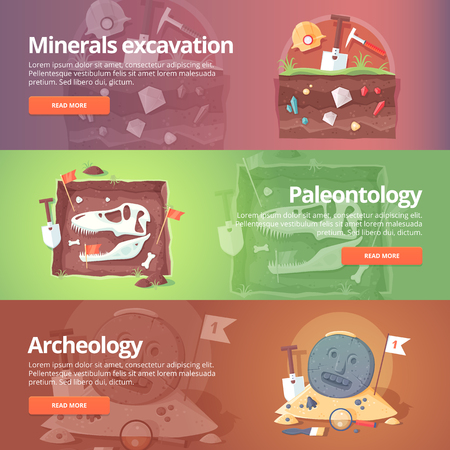 Science of life. Minerals excavation. Paleontology. Historical archeology. Ancient fossils. Species origin. Dinosaur age. Geology. Education and science banners set. Vector design concept.