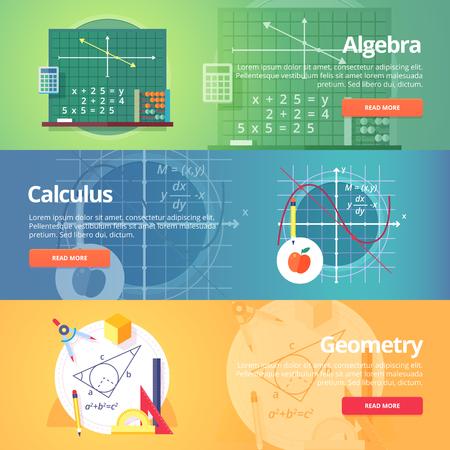teorema: La ciencia matem�tica. �lgebra. C�lculo. Geometr�a. Ciencia exacta. Educaci�n y ciencia banderas conjunto. Vector de dise�o plano concepto.
