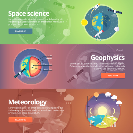 exploration: Science of Earth. Exploration of space. Geophysics. Meteorology. Atmospheric phenomena. Natural science. Education and science banners set. Vector design concept.