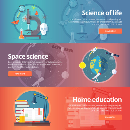 living skull: Science of life. Biology. Astronomy. Science of space. Earth in galaxy. Home education. Self education. Reading books. Education and science banners set. Vector design concept.