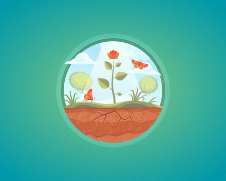Vector groeiende plant illustratie. de groei van de bloem van de grond. Het concept van cartoon.