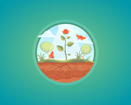 potting soil: Vector growing plant illustration. Flower growth from ground. Cartoon concept design.