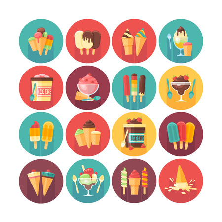 vanilla pudding: Ice cream and frozen desserts and sweets icon collection. Flat vector circle icons set with long shadow. Food and drinks. Illustration