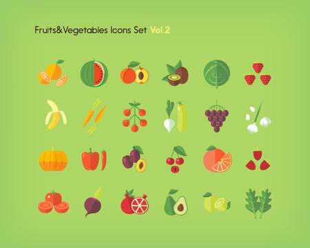side dish: Fruit and vegetables icons set. Flat vector illustration.