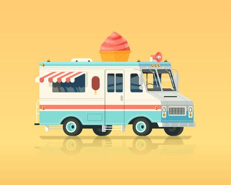 Vector colorido hielo plano camión crema. los colores de época ilustración del concepto.