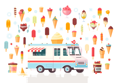 cold pack: Flat vector ice cream icons and ice cream truck. Colorful premium concept illustration. Isolated on white background.
