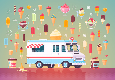 cold pack: Flat vector ice cream icons and ice cream truck. Colorful premium concept illustration.
