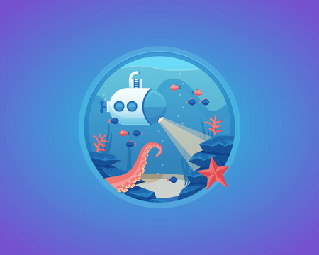 bottom of the sea: Deep water life exploration. Bottom of sea. Vector cartoon illustration.