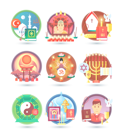 confession: Religion and confession icons. Flat colorful concept vector illustration. Illustration