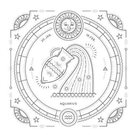 Vintage thin line Aquarius zodiac sign label. Retro vector astrological symbol, mystic, sacred geometry element, emblem, . Stroke outline illustration. Isolated on white background.