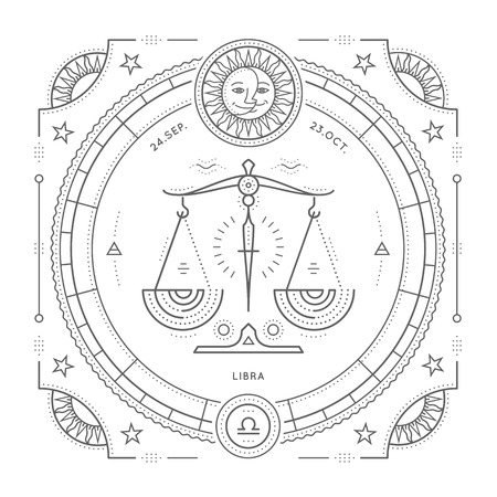 delgada línea de la vendimia etiqueta Libra signo del zodiaco. Vector retro símbolo astrológico, mística, elemento de la geometría sagrada, emblema,. Ilustración del esquema de accidente cerebrovascular. Aislado en el fondo blanco.