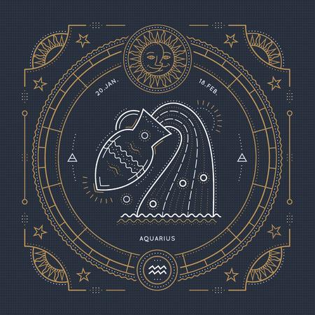 Vintage thin line Aquarius zodiac sign label. Retro vector astrological symbol, mystic, sacred geometry element, emblem, . Stroke outline illustration. Illustration