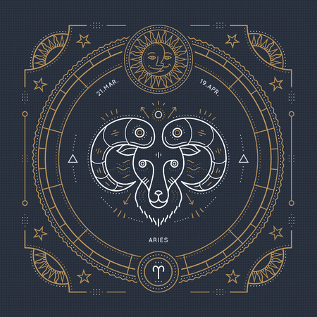 Vintage thin line Aries zodiac sign label. Retro vector astrological symbol, mystic, sacred geometry element, emblem, . Stroke outline illustration.