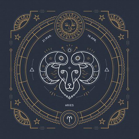 Vintage thin line Aries zodiac sign label. Retro vector astrological symbol, mystic, sacred geometry element, emblem, . Stroke outline illustration.