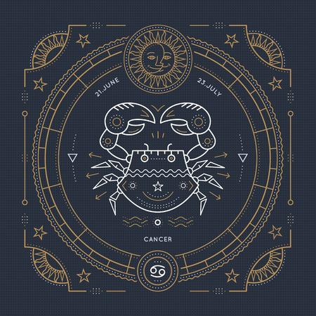 mystic: Vintage thin line Cancer zodiac sign label. Retro vector astrological symbol, mystic, sacred geometry element, emblem, . Stroke outline illustration.