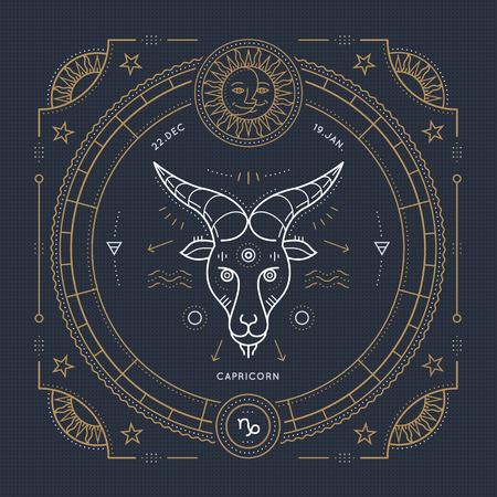 Vintage thin line Capricorn zodiac sign label. Retro vector astrological symbol, mystic, sacred geometry element, emblem, . Stroke outline illustration. Vector Illustration