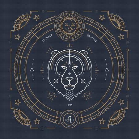 Vintage thin line Leo zodiac sign label. Retro vector astrological symbol, mystic, sacred geometry element, emblem, . Stroke outline illustration. Vettoriali