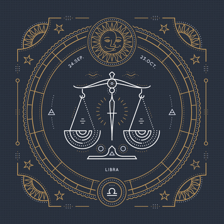 Vintage thin line Libra zodiac sign label. Retro vector astrological symbol, mystic, sacred geometry element, emblem, . Stroke outline illustration.