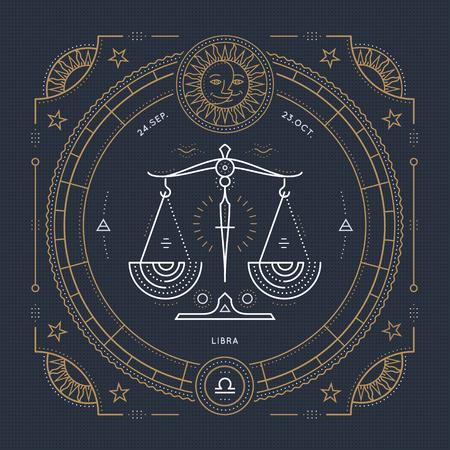 Vintage thin line Libra zodiac sign label. Retro vector astrological symbol, mystic, sacred geometry element, emblem, . Stroke outline illustration. Векторная Иллюстрация