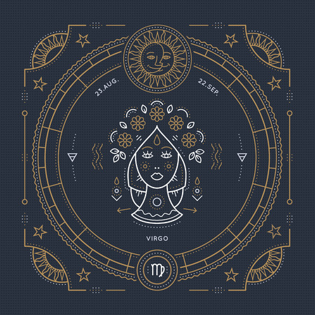 Vintage thin line Virgo zodiac sign label. Retro vector astrological symbol, mystic, sacred geometry element, emblem, . Stroke outline illustration. Stock Illustratie
