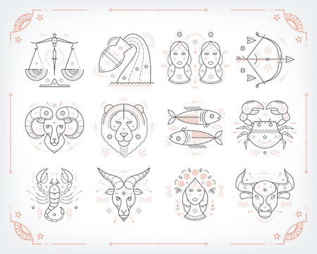Thin line vector zodiacal symbols. Astrology, horoscope sign, graphic design elements, printing template. Vintage outline stroke style. Isolated on white. Stock Illustratie