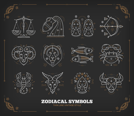 zodiacal sign: Thin line vector zodiacal symbols. Astrology, horoscope sign, graphic design elements, printing template. Vintage outline stroke style. Isolated on dark.