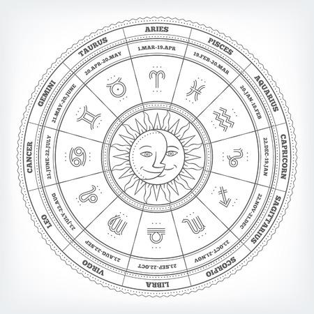 signes du zodiaque: cercle zodiacale avec des signes d'astrologie. Vector design element isol� sur fond blanc. Illustration