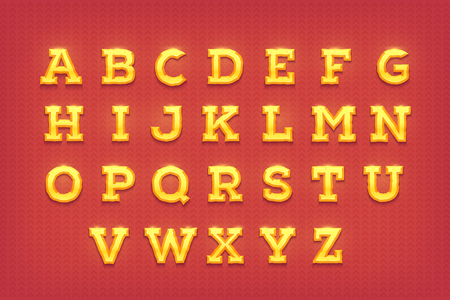 flick: Vector shiny gold letters. Golden typeface font.