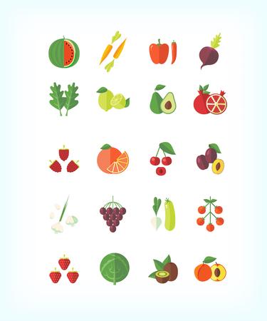 side dish: Set of vector vegetarian organic food. Flat fruit and vegetables icon set. Illustration