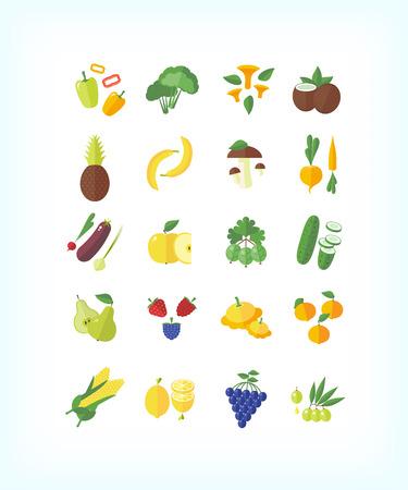 side menu: Set of vector vegetarian organic food. Flat fruit and vegetables icon set. Illustration