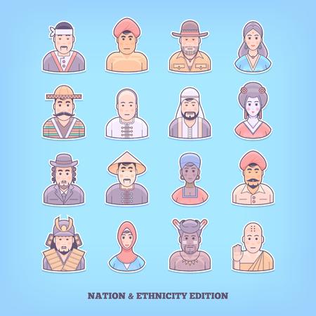 ethnicity: Cartoon people icons. Nation, race, ethnicity design elements. Flat concept vector illustration.