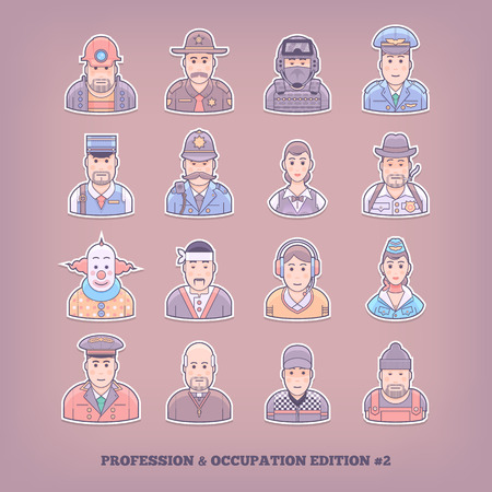 workday: Cartoon people icons. Occupation and profession design elements. Flat concept vector illustration. Illustration