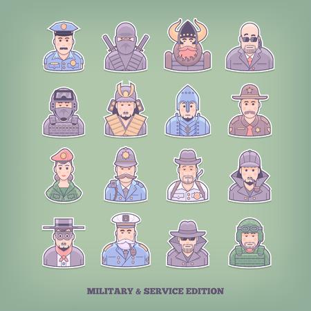 enforcement: Cartoon people icons. Military and enforcement design elements. Flat concept vector illustration.