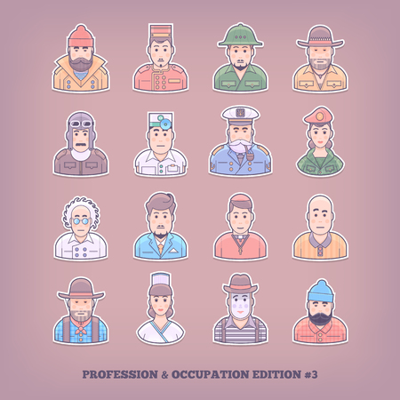 specialities: Cartoon people icons. Occupation and profession design elements. Flat concept vector illustration. Illustration