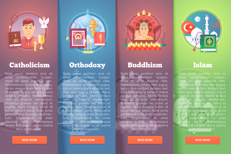 doctrine: Set of religion icons. Religions and confessions illustration concepts. Flat modern style.
