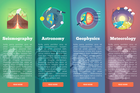 Earth planet science banner set. Seismography. Astronomy. Geophysics. Meteorology. Education and science vertical layout concepts. Flat modern style. Illustration