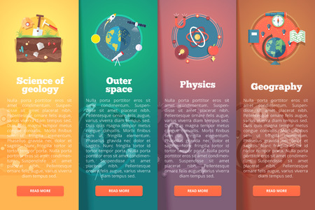 Elementary and academic science. Geology. Outer space. Physics and math. Geography study. Education and science vertical layout concepts. Flat modern style.