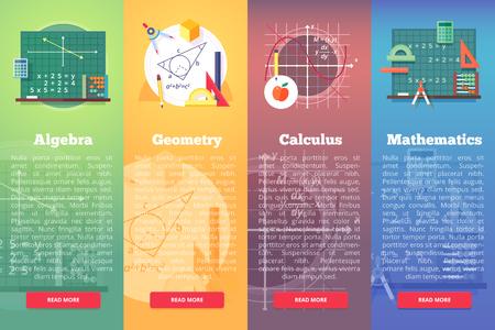 수학 배너입니다. 수학, 대수, 미적분의 평면 벡터 교육 개념. 수직 레이아웃 조성물. 일러스트