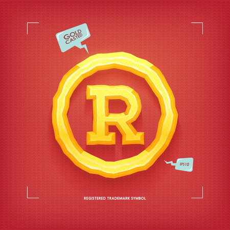 Registered trademark symbol. Golden jewel typeface element. Gold casted. Vector illustration.