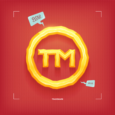 Trademark symbol. Golden jewel typeface element. Gold casted. Vector illustration.