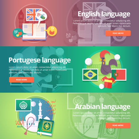 interpreter: Foreign languages learning banner set. Design illustration for British English, Portuguese and Arabian language. Colorful vector flat concepts horizontal layout. Allah in Arabian. Illustration