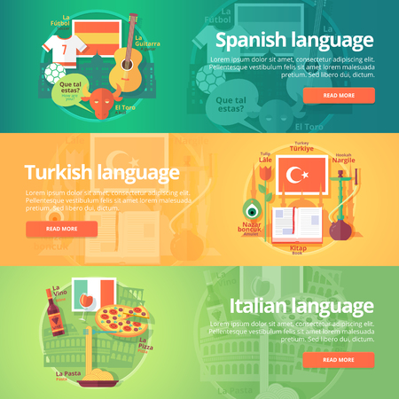 dialect: Foreign languages learning banner set. Design illustration for Spanish, Turkish and Italian language. Colorful vector flat concepts horizontal layout.