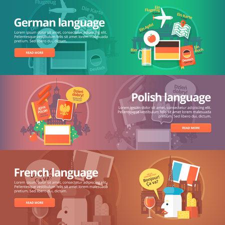 dialect: Foreign languages learning banner set. Design illustration for German, Polish and French language. Colorful vector flat concepts horizontal layout.